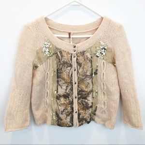 Free People Sequin Lace Cropped Cardigan Sweater